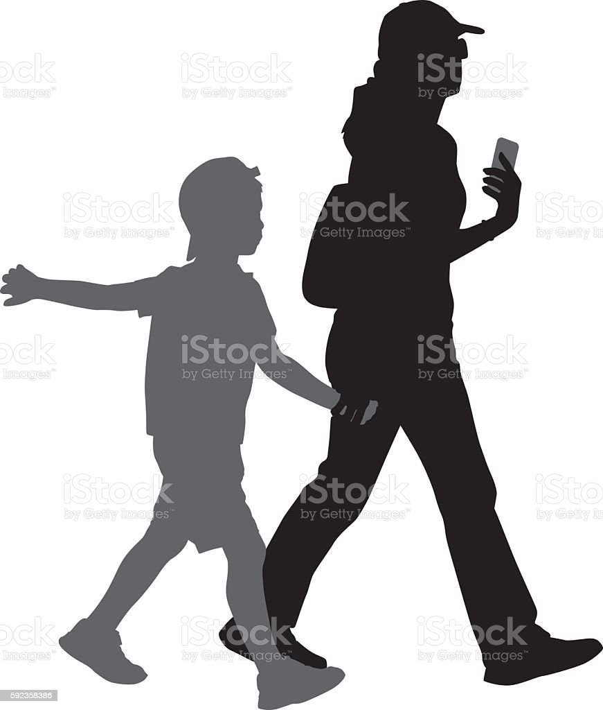 Mom Walking With Son Silhouette vector art illustration