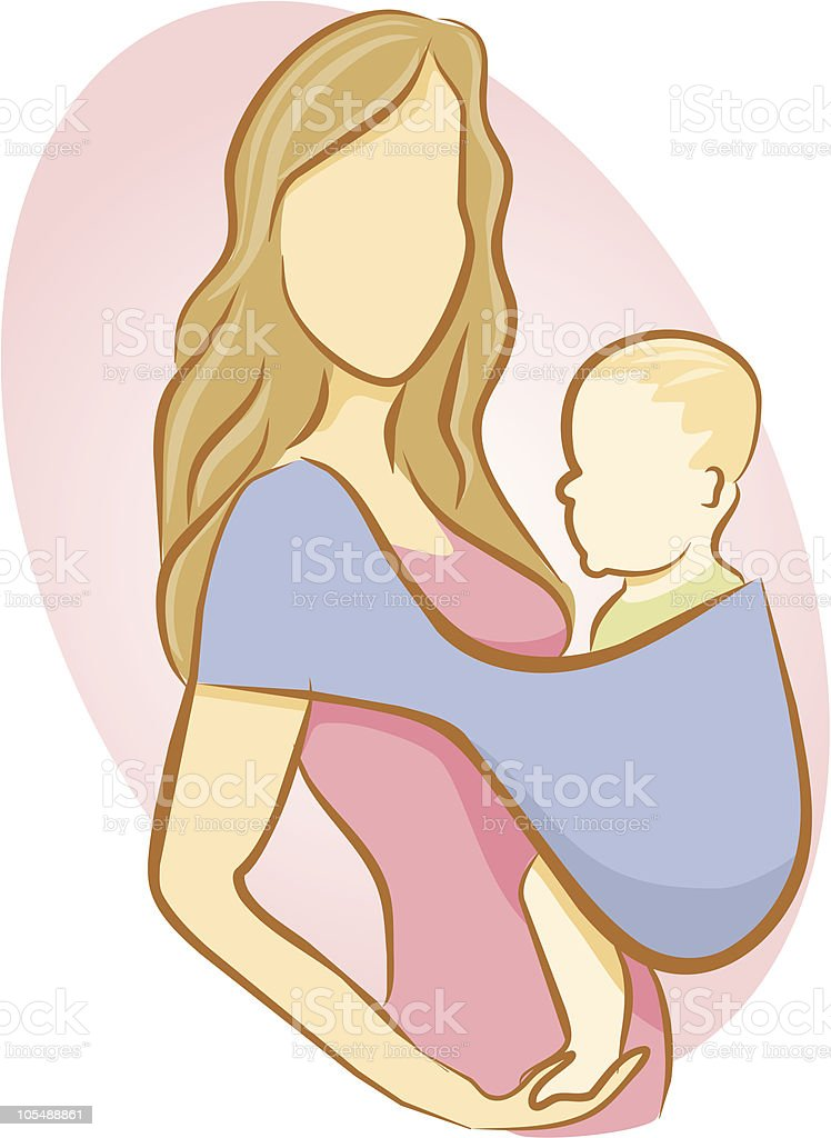 Mom with Baby in Sling vector art illustration