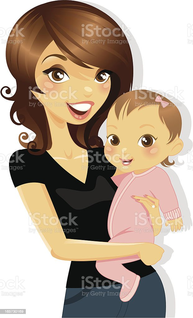Mommy and Baby Girl royalty-free stock vector art