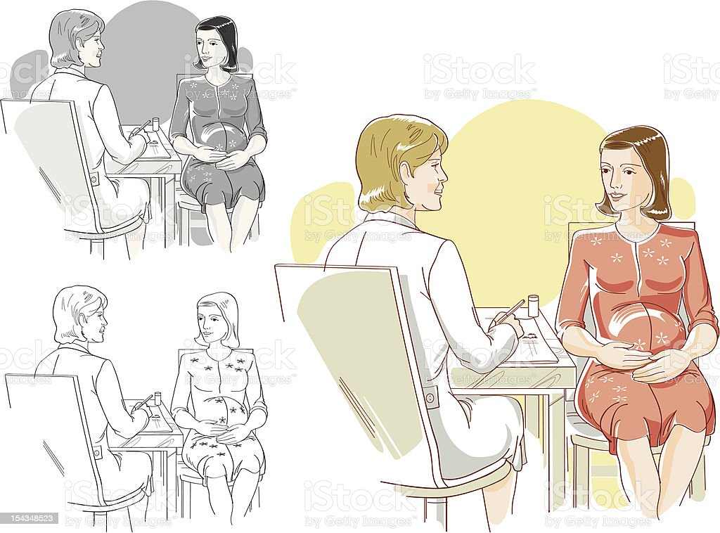 Moms have regular checkups for a healthy pregnancy. royalty-free stock vector art