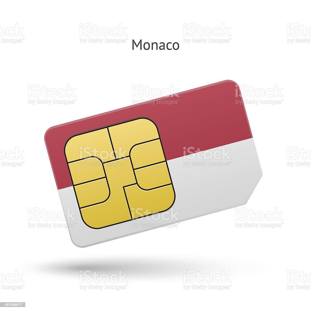 Monaco mobile phone sim card with flag. vector art illustration