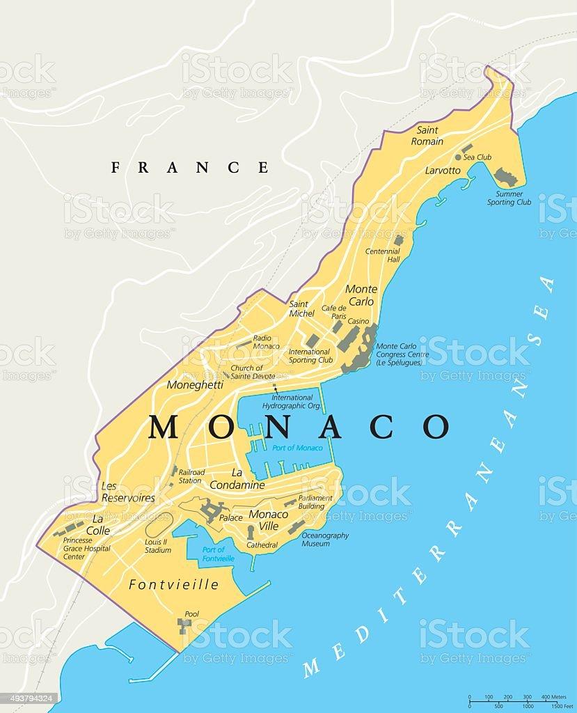 Monaco Political Map stock vector art 493794324 iStock