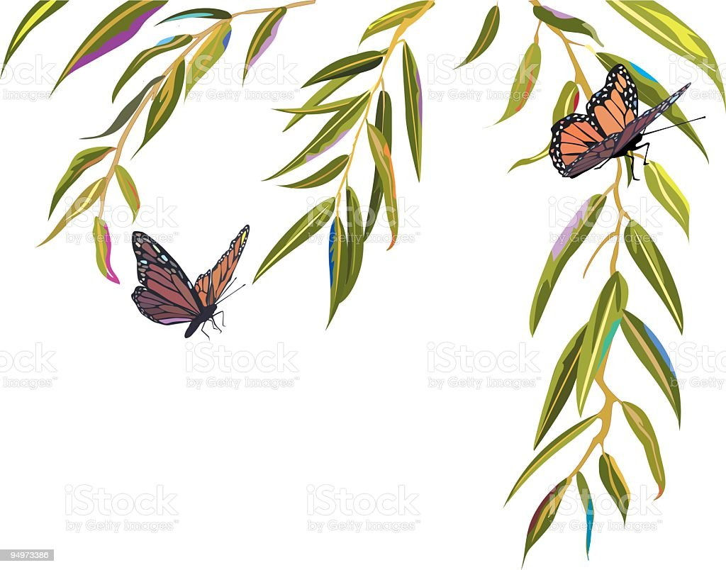 Monarch Butterflies landing in branches of a Willow Tree vector art illustration