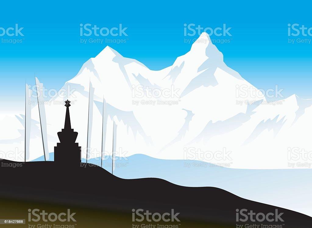Monastery Himalaya Mountain vector art illustration