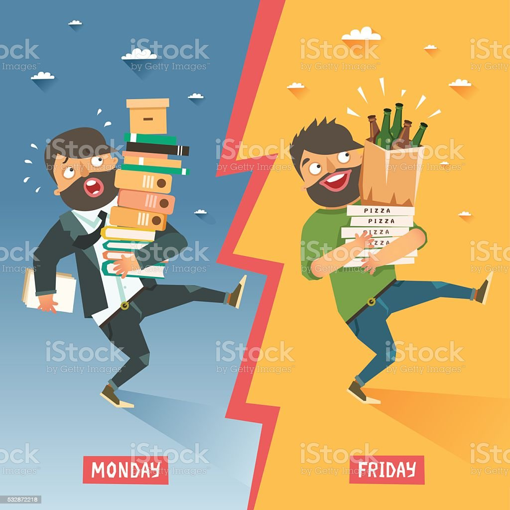 Monday vs Friday concept vector art illustration