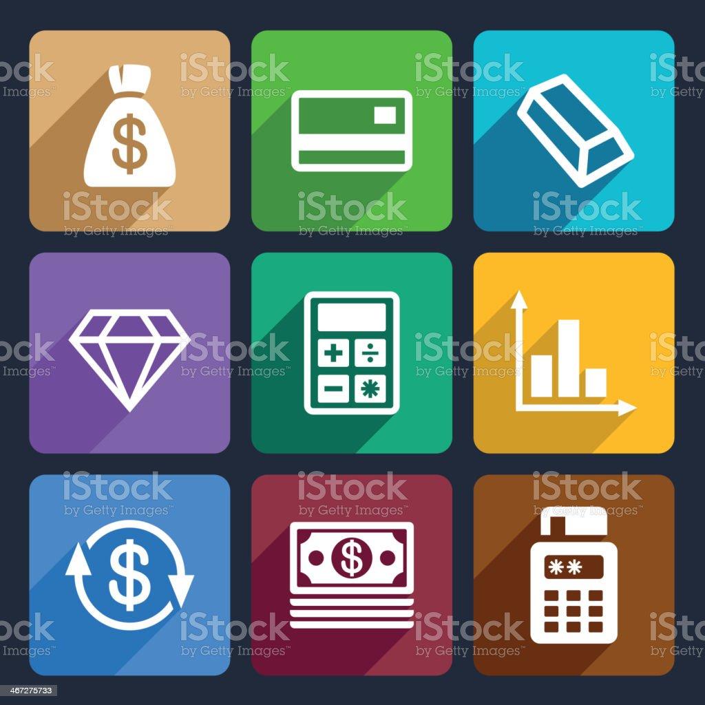 Money and bank Flat Icons Set 41 royalty-free stock vector art