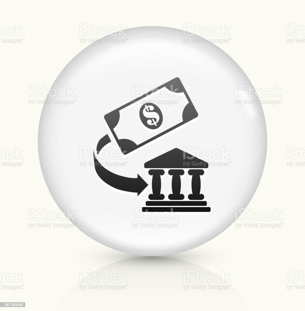 Money and Bank icon on white round vector button vector art illustration