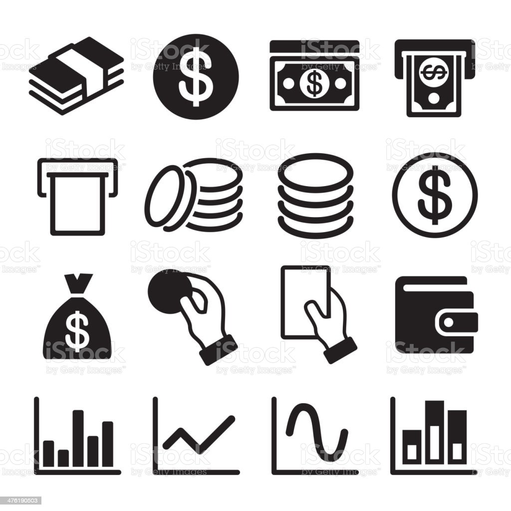 Money and business icon set royalty-free stock vector art