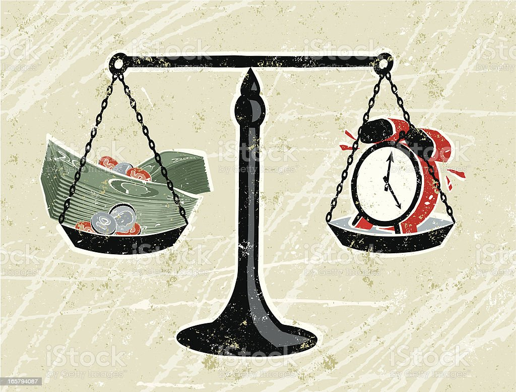 Money and clock on Scales royalty-free stock vector art