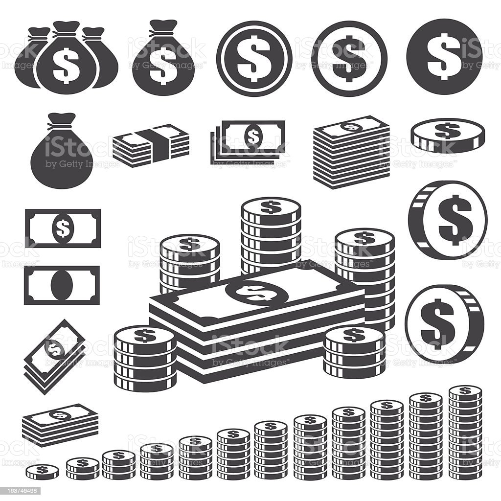 Money and coin icon set. vector art illustration