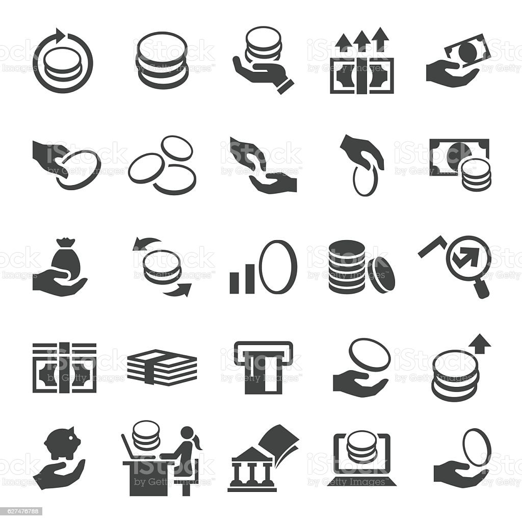 Money and coin icon set vector art illustration