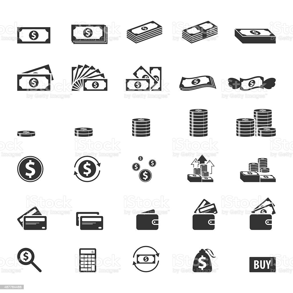 Money and coin icon set,Vector EPS10. vector art illustration