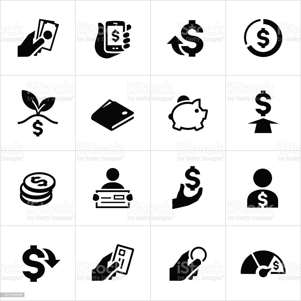 US Money and Currency Icons vector art illustration