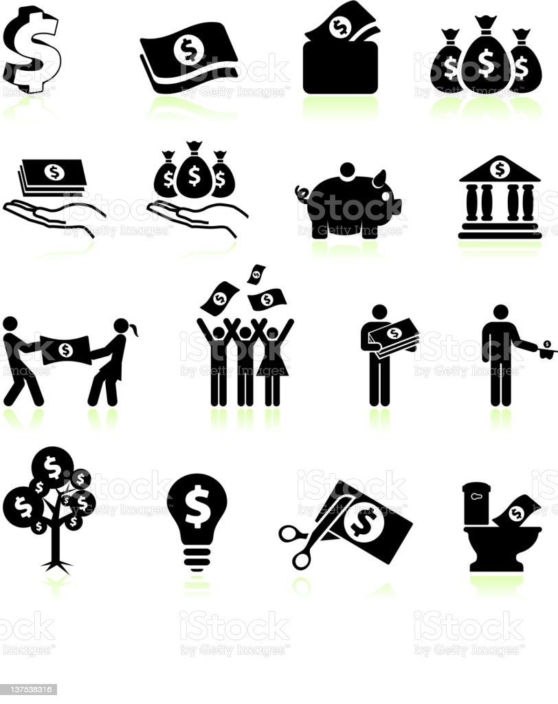 money and finance black & white vector icon set royalty-free stock vector art