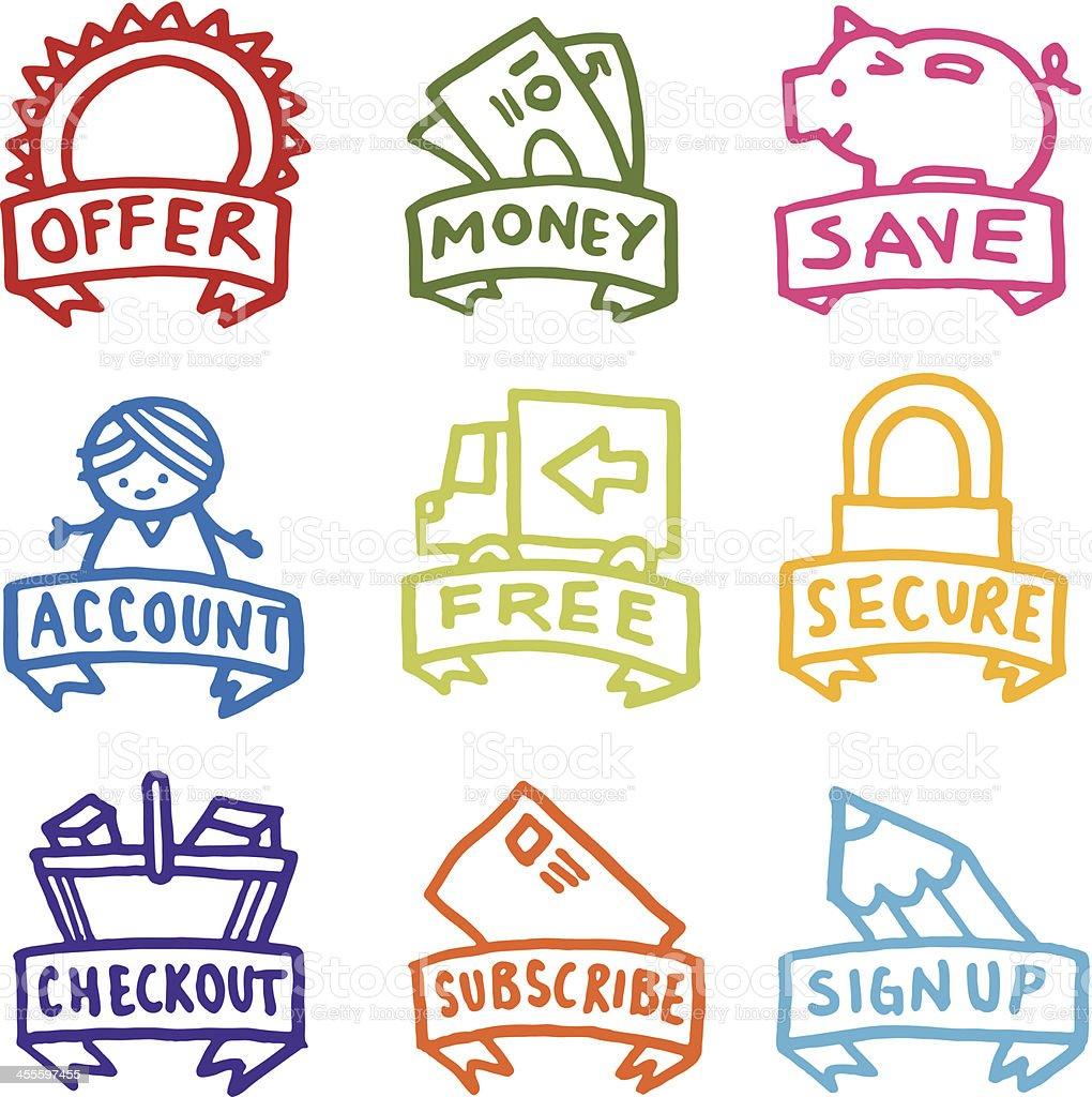 Money and finance hand drawn icon sets vector art illustration