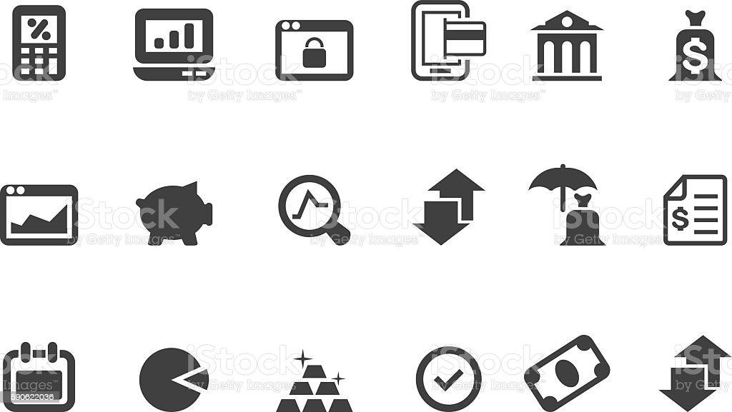 Money and finance icon set vector art illustration