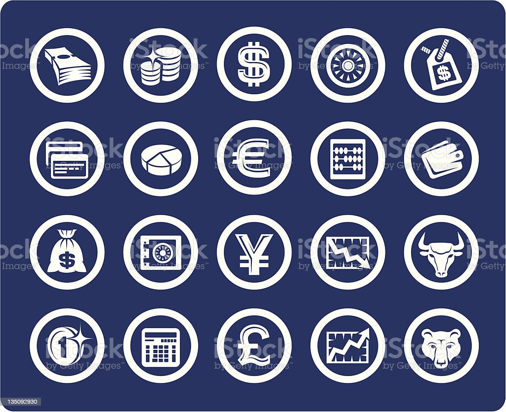 Money and Finance vector icons royalty-free stock vector art