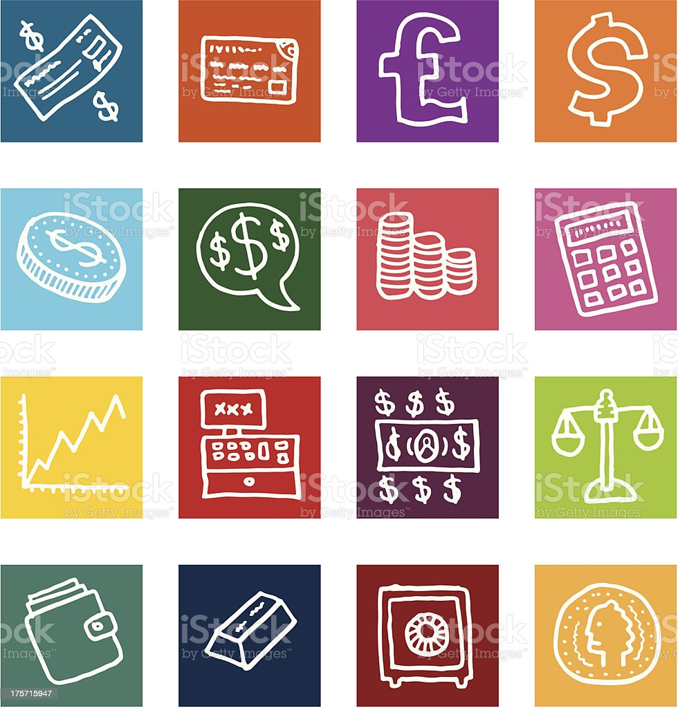 Money and financial flat block icon set vector art illustration