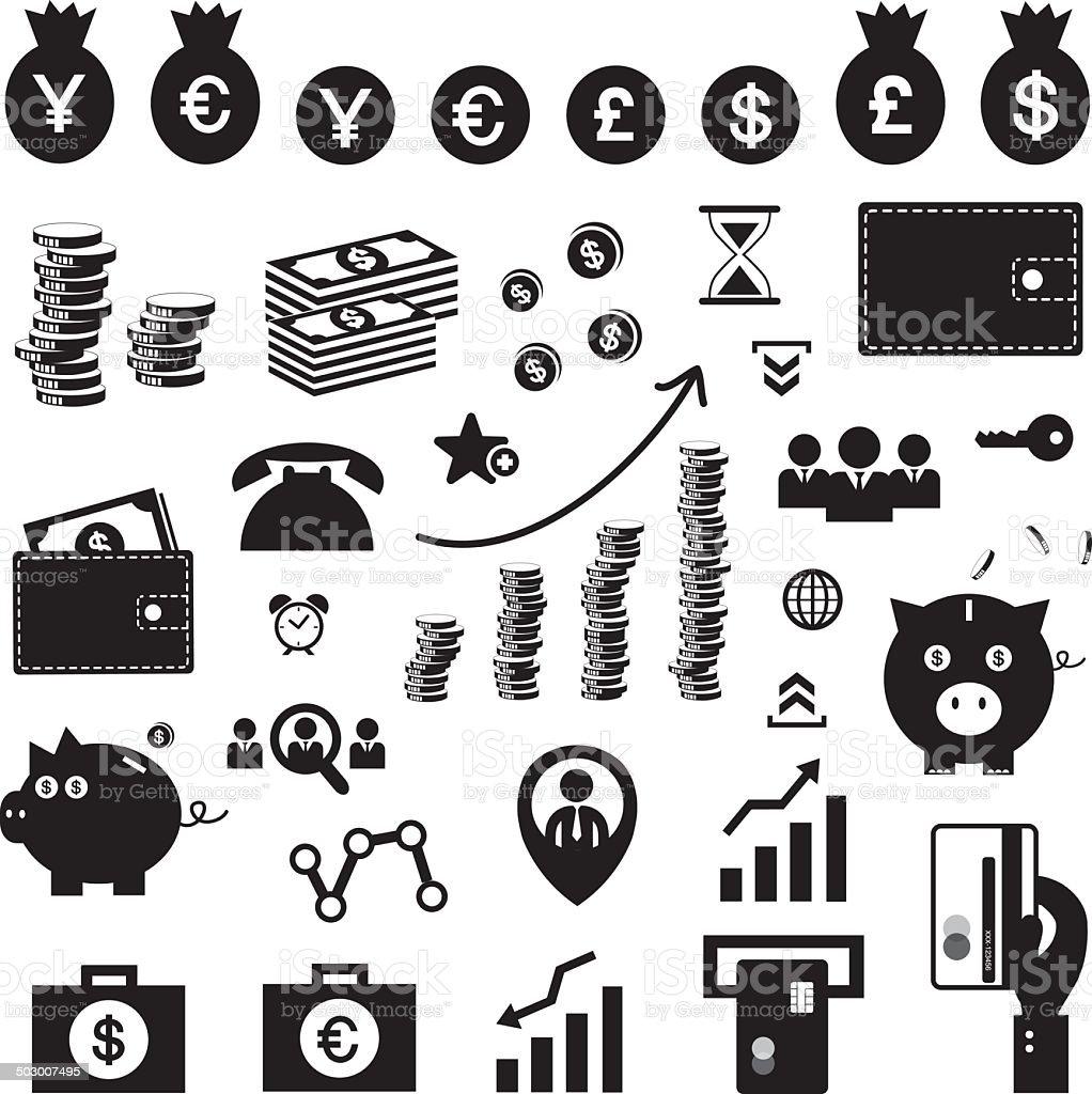money and financial icon set vector art illustration