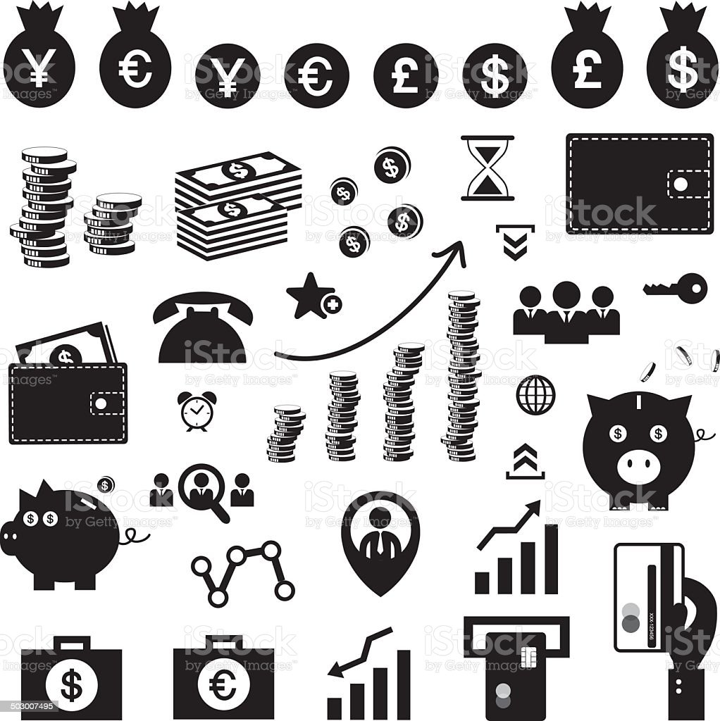 money and financial icon set vector art illustration