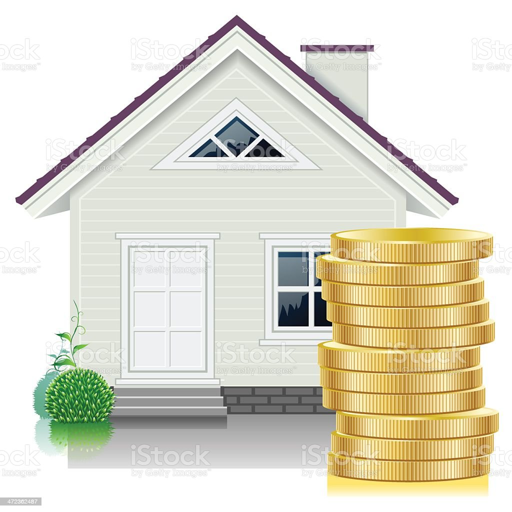 money and home vector art illustration