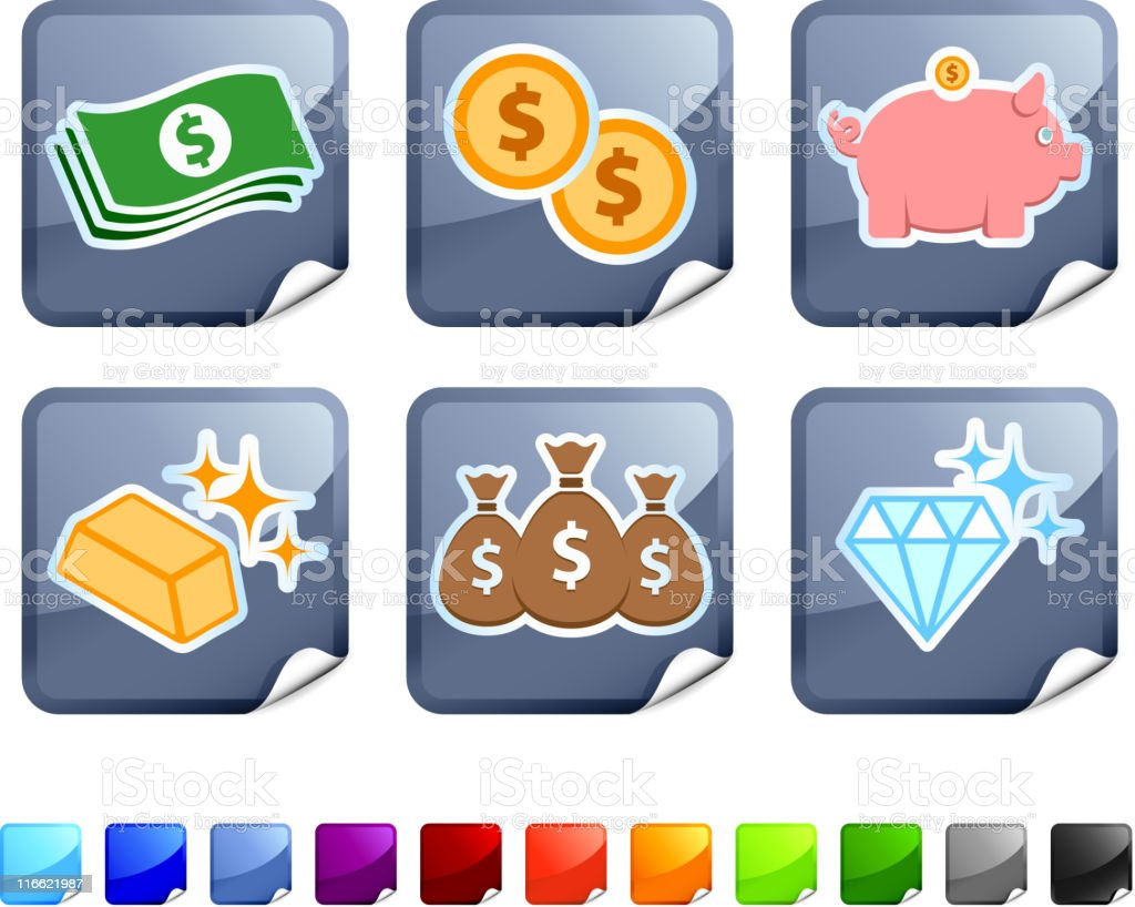 Money and wealth royalty free vector icon set royalty-free stock vector art