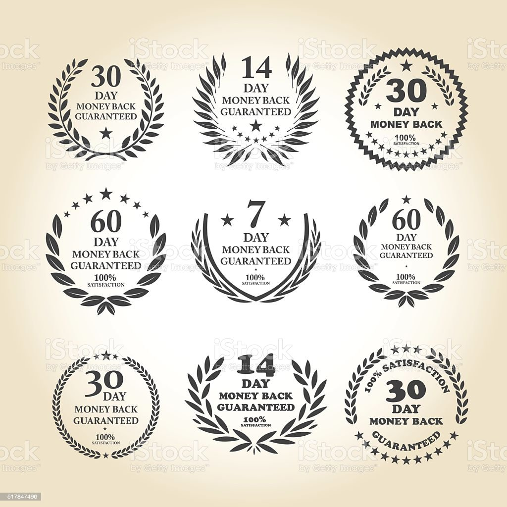 Money Back Guarantee Emblem set vector art illustration