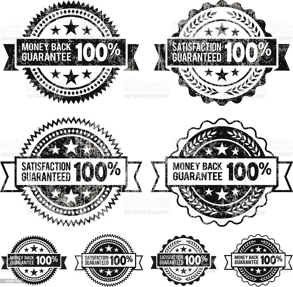 100% Money Back Guaranteed Badges black and white icon set royalty-free stock vector art