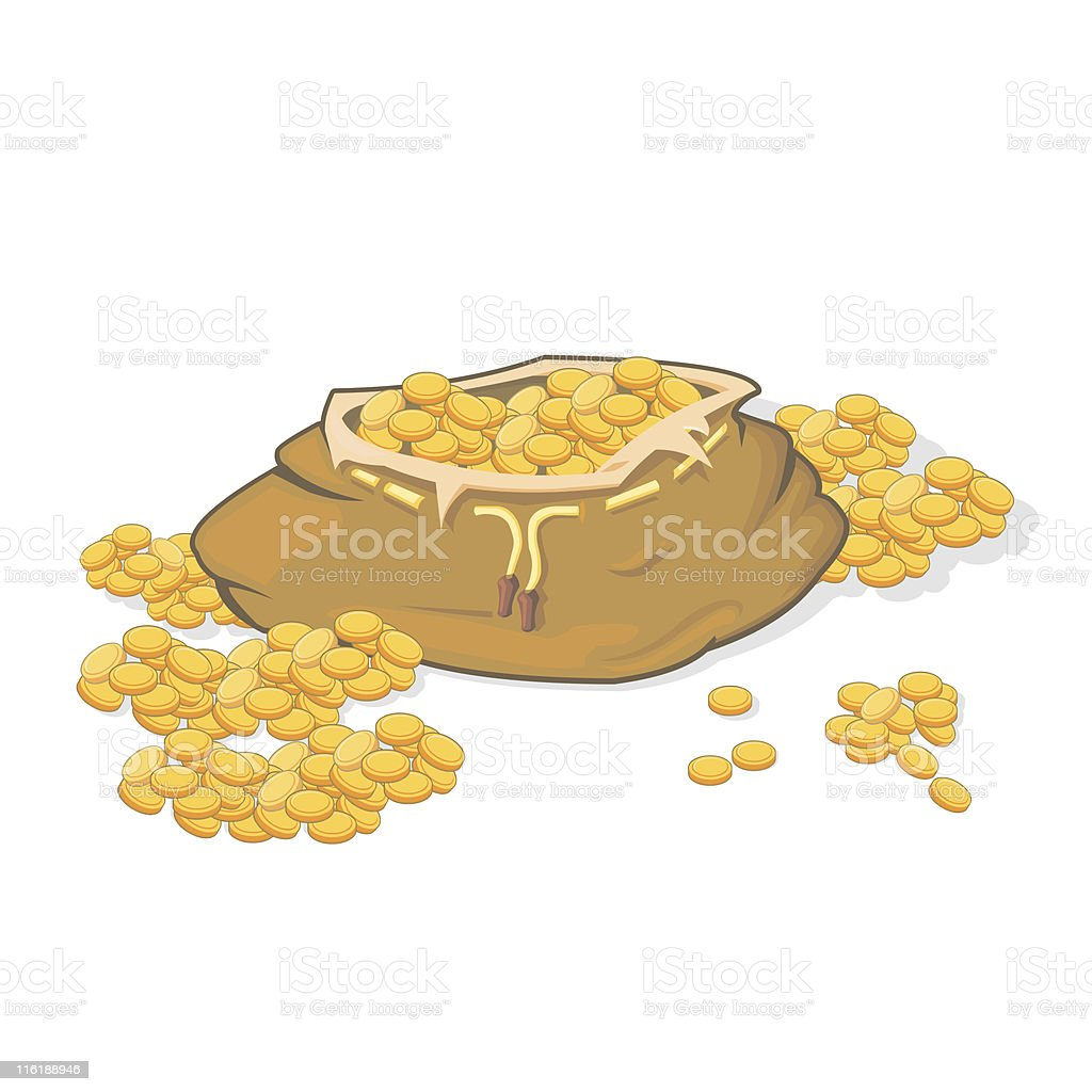 Money Bag & Coins royalty-free stock vector art