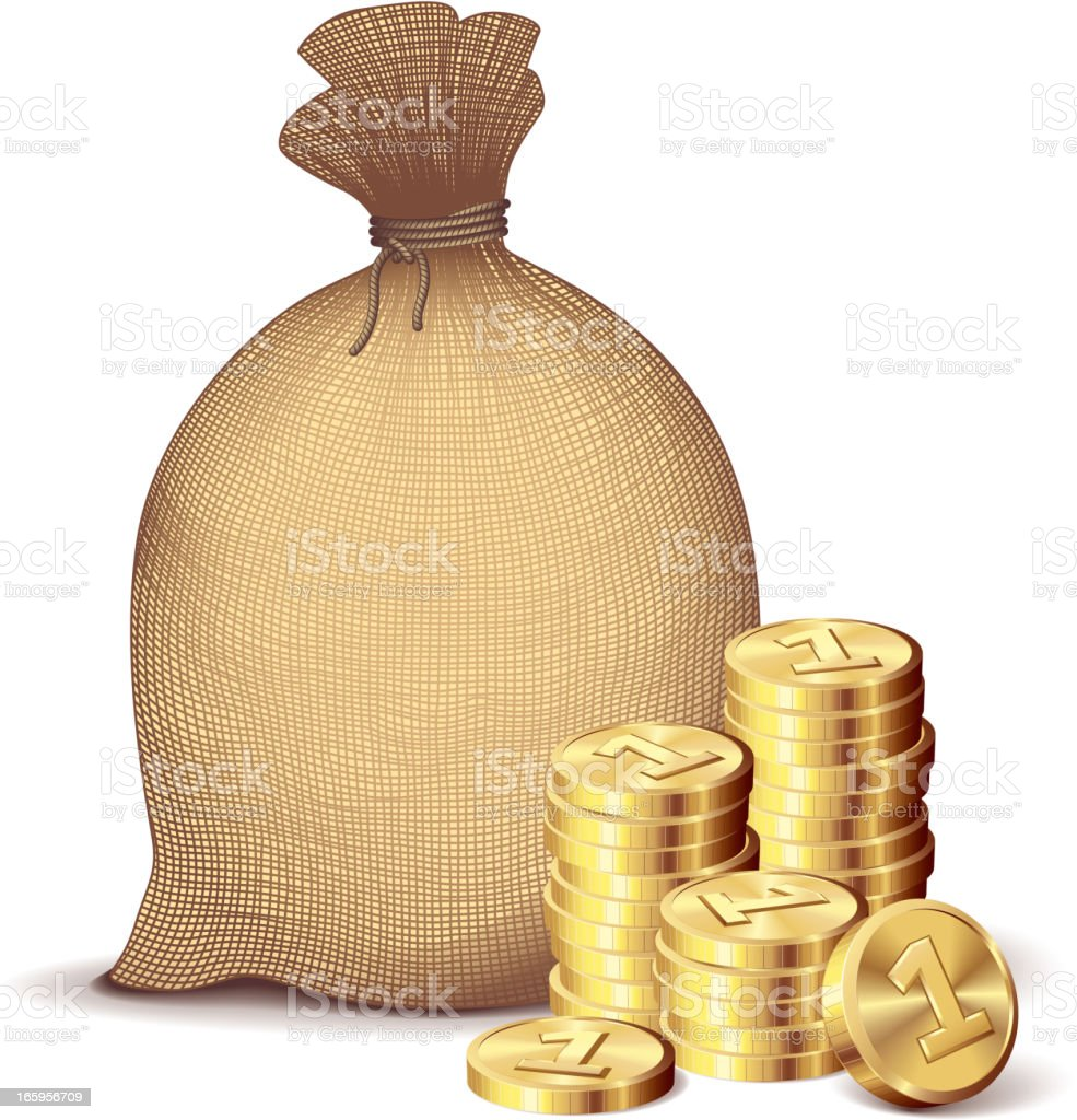 Money bag and gold coins royalty-free stock vector art
