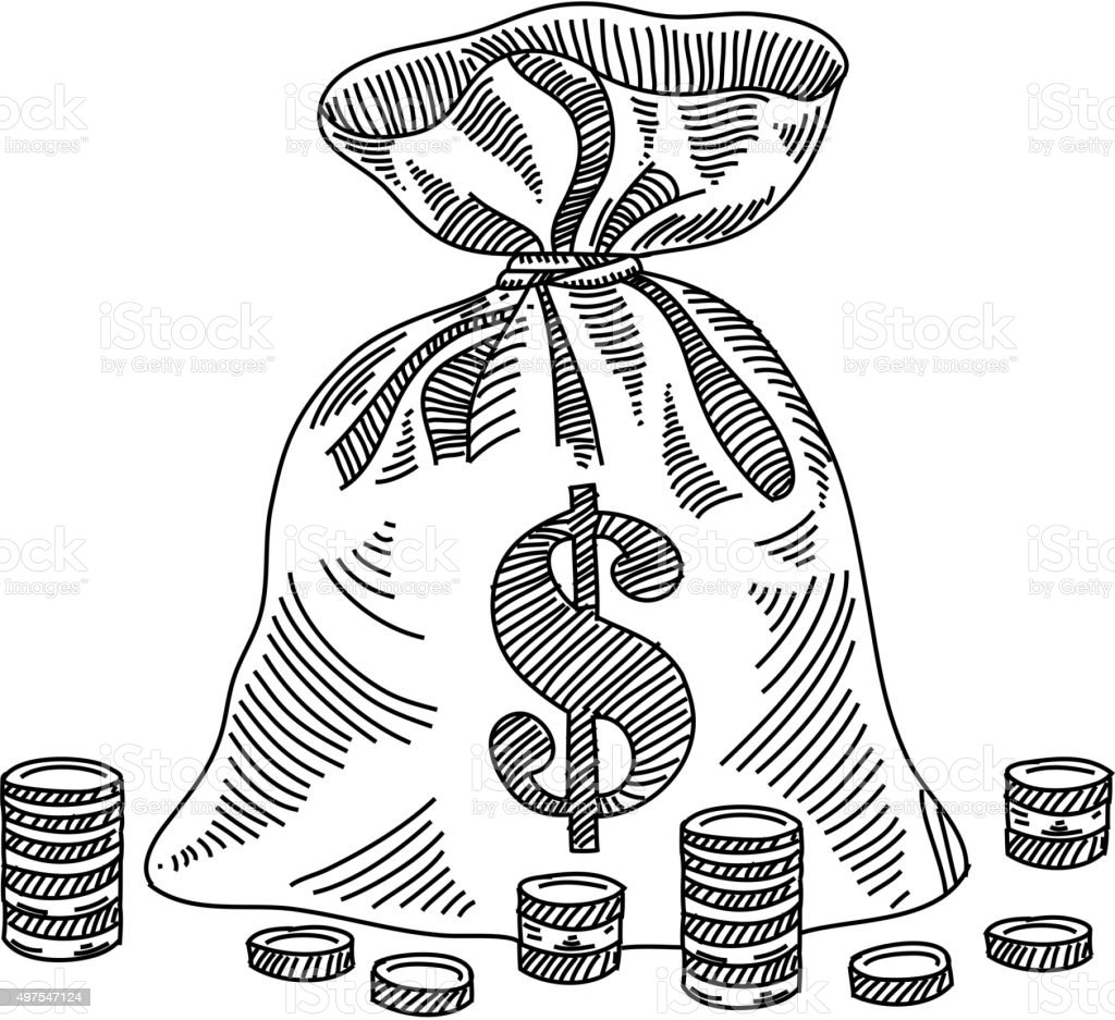 Money Bag Drawing vector art illustration