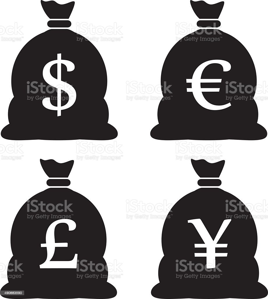 Money Bag Icons vector art illustration