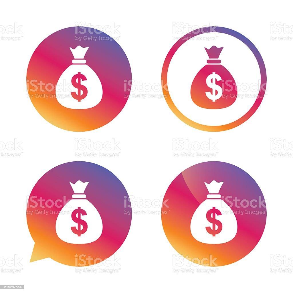 Money bag sign icon. Dollar USD currency. vector art illustration