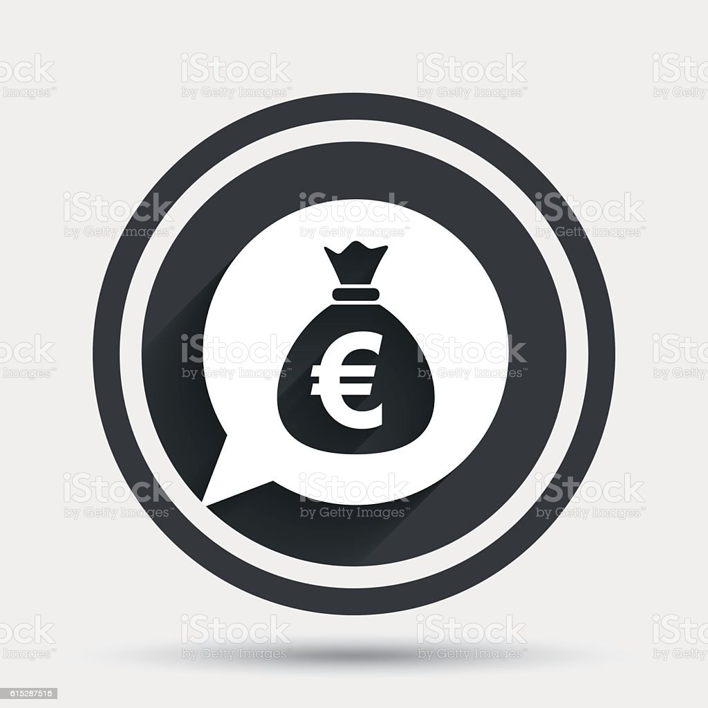 Money bag sign icon. Euro EUR currency. vector art illustration