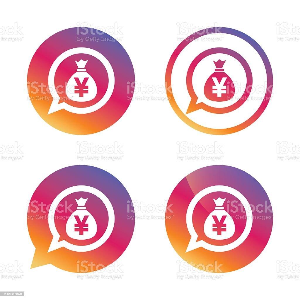 Money bag sign icon. Yen JPY currency. vector art illustration