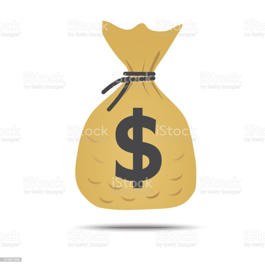 Money Bag Vector With Black Drawstring And Dollar Sign Isolated ...