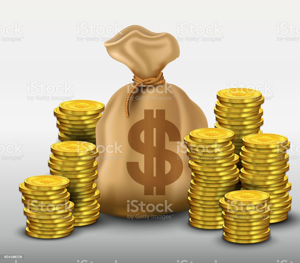 Money bag with gold coins dollars vector art illustration