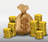 Money bag with gold coins dollars