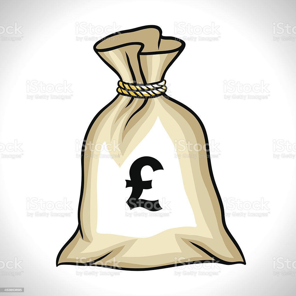 Money bag with pound sign vector illustration royalty-free stock vector art