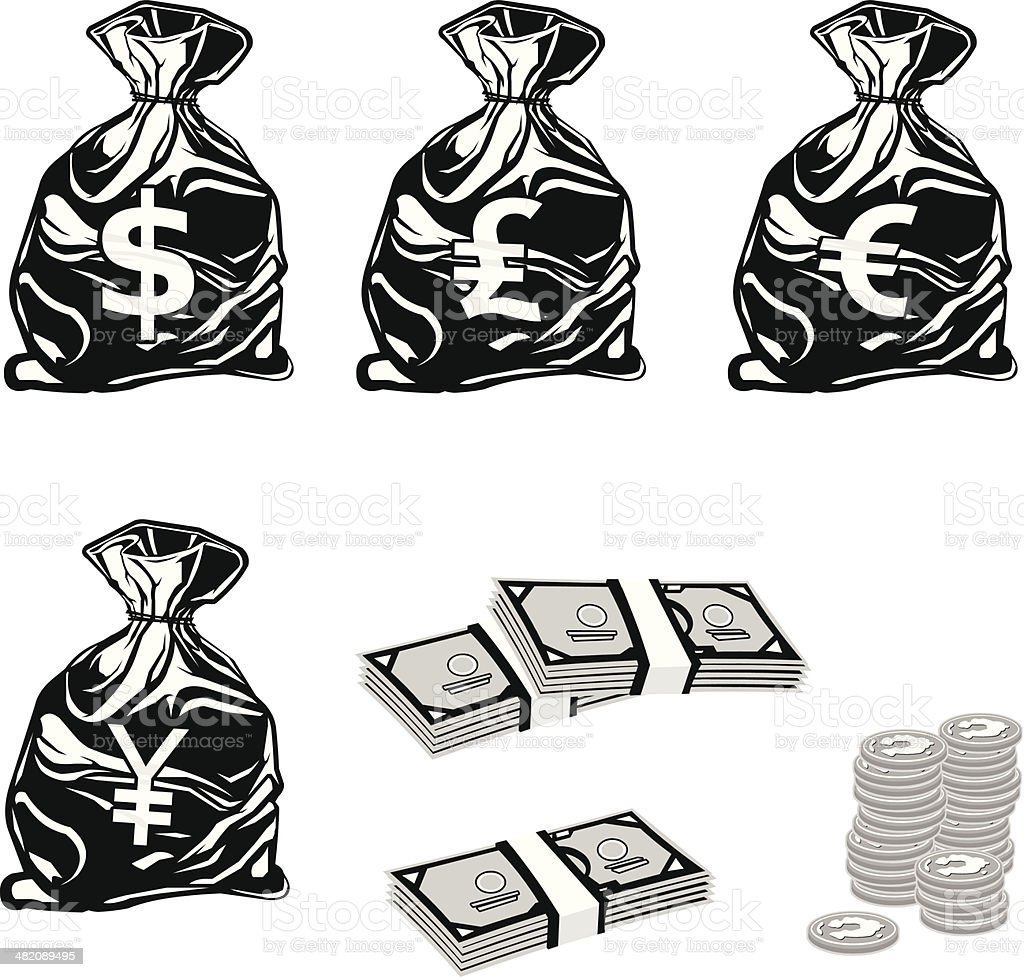 Money Bags and Cash Icons royalty-free stock vector art