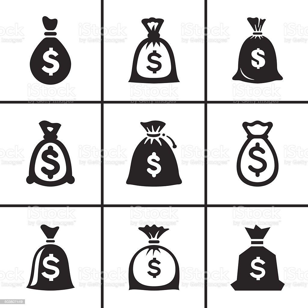 Money bags icon set vector art illustration
