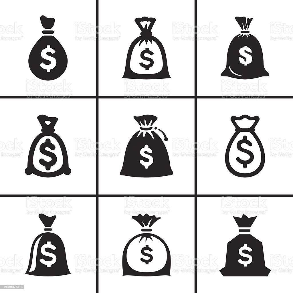 Money bags icon set vector art illustration
