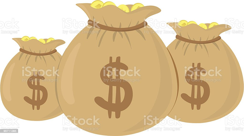 Money bags vector art illustration