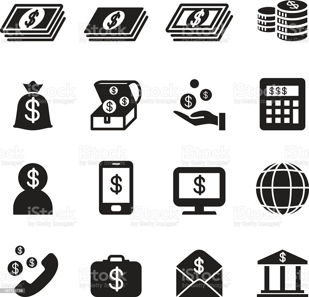 Money, Bank , investment icons set vector art illustration