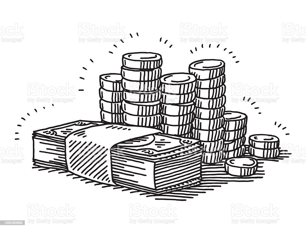 Money Banknotes And Coins Drawing vector art illustration