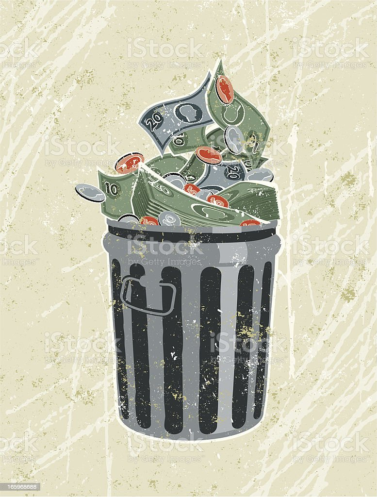 Money, banknotes and coins in a Garbage Bin vector art illustration