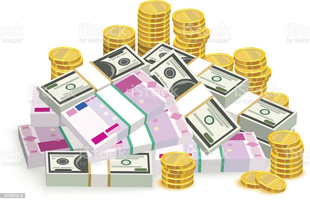 Money banknotes and coins. Money euro and dollars. Bundle money vector art illustration