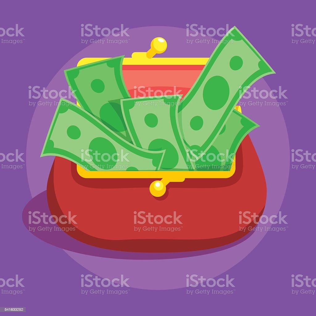Money bills in red retro wallet flat vector vector art illustration