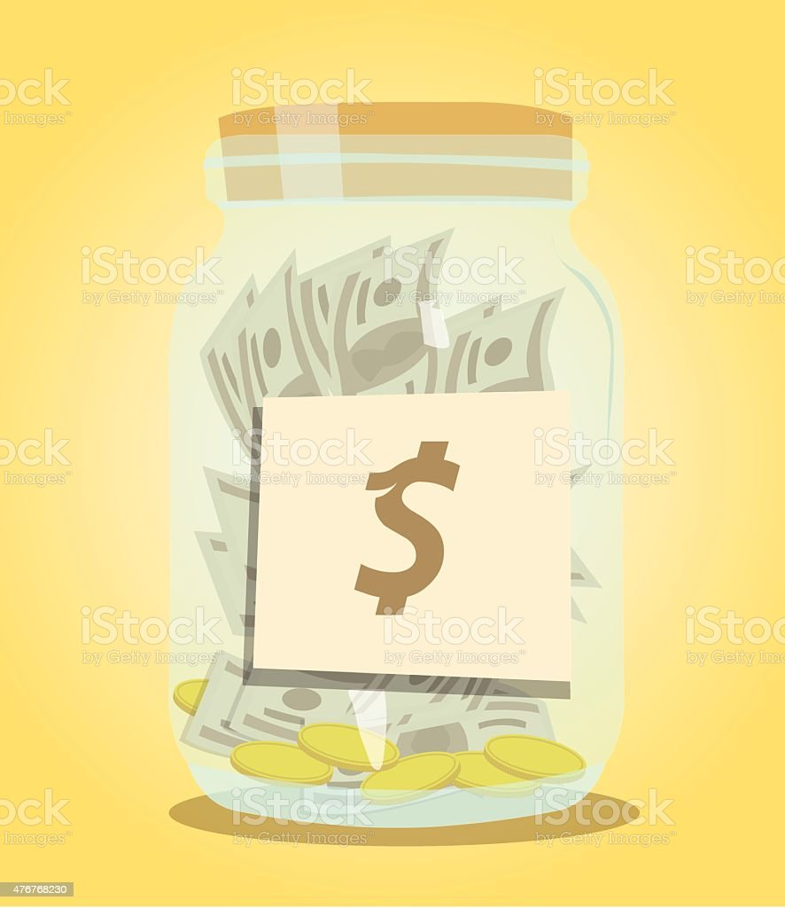 Money bottle vector art illustration