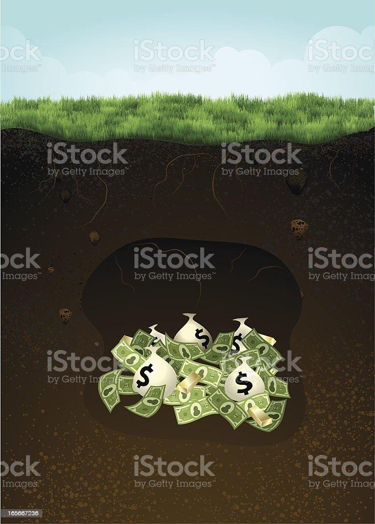Money buried underneath ground (grass) vector art illustration